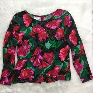 Evan Picone Floral Long Sleeve Silk Vintage Blouse